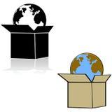 Tierra en una caja ilustración del vector