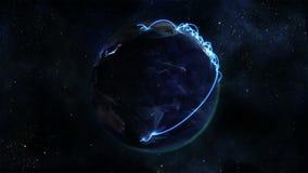 Tierra encendida que se gira sí mismo con las conexiones azules con la cortesía de imagen de la tierra de la NASA org