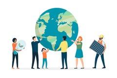 Tierra favorable y ambiente del grupo de personas multiétnico stock de ilustración