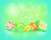 Tierra festiva del vector 3d Pascua feliz Huevos y flor de Pascua en fondo chispeante Diseño para la bandera pascual Fotografía de archivo libre de regalías