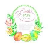 Tierra festiva del vector 3d Venta de Pascua Huevos y flor de Pascua en el fondo blanco Capítulo y espacio para el texto Diseño p ilustración del vector
