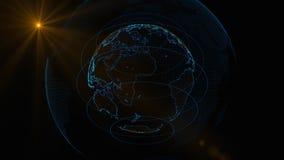Tierra giratoria de partículas que brillan intensamente en un fondo oscuro después de efecto ilustración del vector