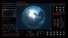 Tierra giratoria, servicio en red social de extensión en el panel del indicador digital, 3D ilustración del vector