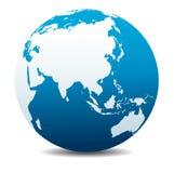 Tierra global del planeta del icono del mundo de China y de Asia, Extremo Oriente ilustración del vector