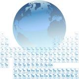 Tierra hecha de elementos de vector periódico de los átomos