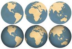 Tierra hecha del papel envejecido Imagen de archivo libre de regalías