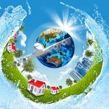 Tierra, hierba verde, edificios, agua y aeroplano libre illustration