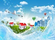 Tierra, hierba verde, edificios y agua imagen de archivo libre de regalías