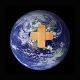 tierra humana del planeta del impacto Imagen de archivo libre de regalías