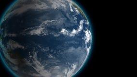 Tierra lentamente giratoria cerca en la noche del espacio, fondo colocado inconsútil de la animación de 4K 3d Opinión del contras ilustración del vector