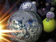 Tierra, luna, Sun y más planetas Imágenes de archivo libres de regalías