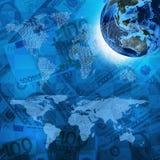 Tierra, mapa del mundo en fondo del dinero Fotografía de archivo