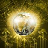 Tierra, mapa del mundo en fondo del dinero Imagen de archivo libre de regalías