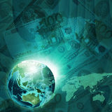 Tierra, mapa del mundo en fondo del dinero Foto de archivo