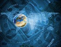 Tierra, mapa del mundo en fondo del dinero Imagen de archivo