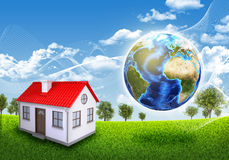 Tierra, pequeña casa, hierba verde y árboles libre illustration