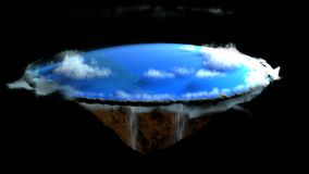 Tierra plana con el paisaje de la naturaleza, creencia antigua en globo plano en la forma de disco, representación 3d ilustración del vector