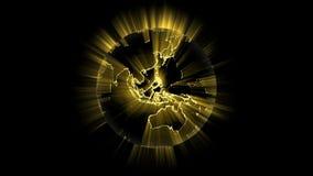 Tierra que brilla intensamente que gira la llamarada ligera global metrajes