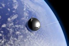 Tierra que está en órbita de Sputnik stock de ilustración