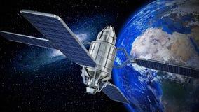 Tierra que está en órbita del satélite de comunicación ilustración 3D libre illustration