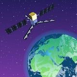 Tierra que está en órbita por satélite de GPS en espacio libre illustration