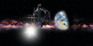 Tierra que est? en ?rbita internacional de la estaci?n espacial ilustración del vector
