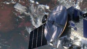 Tierra que se mueve en órbita alrededor basada en los satélites stock de ilustración
