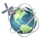 Tierra que se mueve en órbita alrededor basada en los satélites de Sputnik stock de ilustración