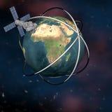 Tierra que se mueve en órbita alrededor basada en los satélites de Sputnik ilustración del vector