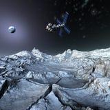 Tierra que se mueve en órbita alrededor basada en los satélites de Sputnik en espacio Imagen de archivo