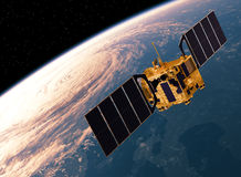Tierra que se mueve en órbita alrededor basada en los satélites escena 3d stock de ilustración