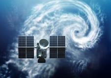 Tierra que se mueve en órbita alrededor basada en los satélites Foto de archivo