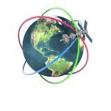 Tierra que se mueve en órbita alrededor basada en los satélites de Sputnik Imagen de archivo