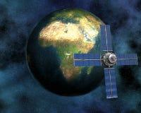 Tierra que se mueve en órbita alrededor basada en los satélites de Sputnik Fotografía de archivo libre de regalías