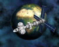 Tierra que se mueve en órbita alrededor basada en los satélites de Sputnik Imágenes de archivo libres de regalías