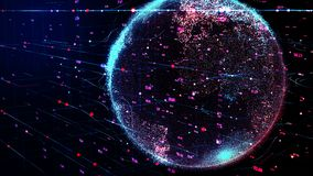 Tierra roja y azul del planeta que gira en red cibernética futurista global libre illustration