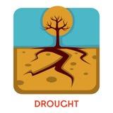 Tierra seca y árbol del tiempo caliente del desastre natural de la sequía ilustración del vector