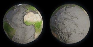 Tierra sin los océanos Imagen de archivo