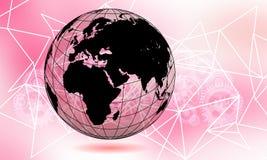 Tierra transparente del globo del mundo Concepto del negocio de las comunicaciones globales Imagen coloreada ultravioleta Color d ilustración del vector