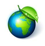 Tierra verde con una hoja stock de ilustración