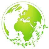 Icono del globo de la tierra en verde y blanco Fotos de archivo
