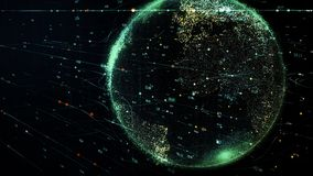 Tierra verde del planeta que gira en red cibernética futurista global stock de ilustración