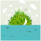 Tierra verde en el océano