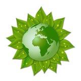 Tierra verde en las hojas stock de ilustración