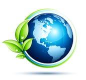 Tierra verde y hojas ilustración del vector