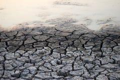 Tierra y agua agrietadas y estériles imagen de archivo libre de regalías