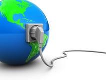 Tierra y cable de transmisión Fotos de archivo libres de regalías