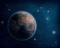 Tierra y estrellas del planeta ilustración del vector