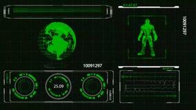 Tierra y hombre de HUD Futuristic High Tech Planet en el escáner del indicador digital de la armadura, 4K libre illustration
