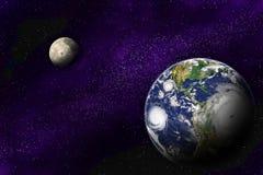 Tierra y luna en el universo profundo Imagen de archivo libre de regalías